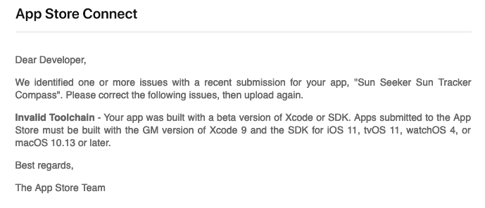 test Twitter Media - WTF? App Store Connect rejects my XCode 10.2 app submission because it needs XCode 9 iOS11?!!!! lol lol https://t.co/XYDjDsq0Ux