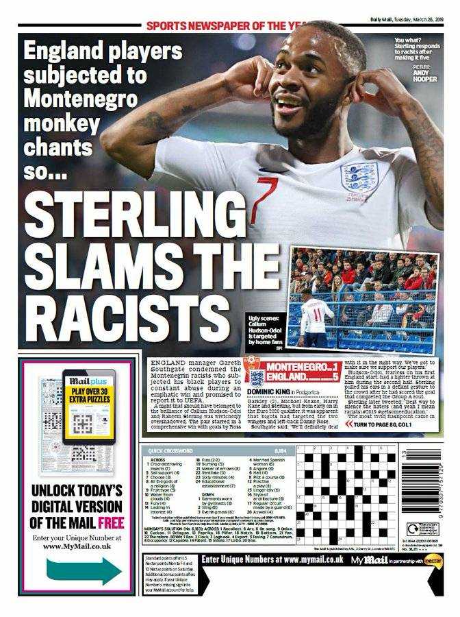 test Twitter Media - Today's BACKPAGES:  Sterling slams the racists'  Barkley's Spank #MONENG #TodaysBackpages #paperstoday #England https://t.co/y40jK5oKMn