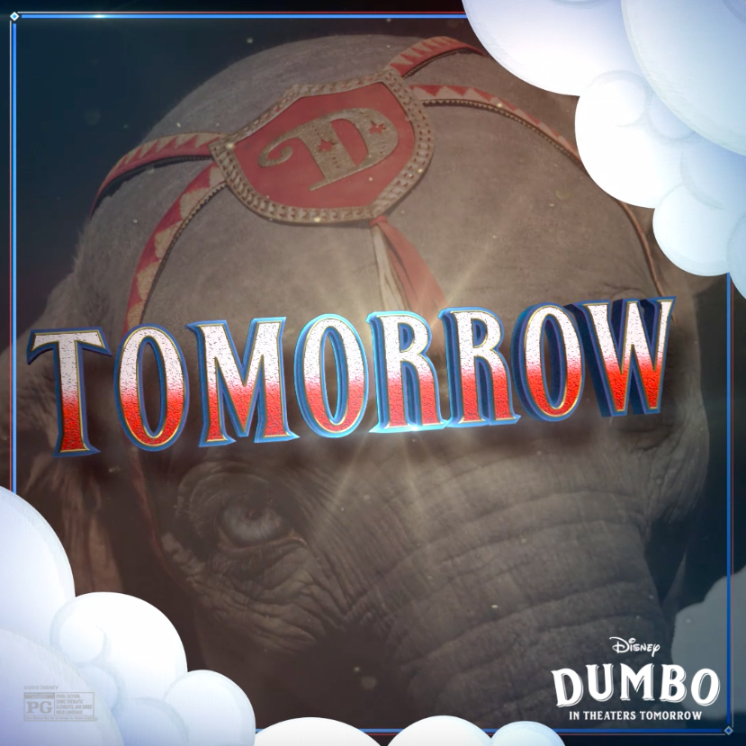 RT @Dumbo: The wait is almost over! See #Dumbo in theaters tomorrow. https://t.co/i1tWjajiHH