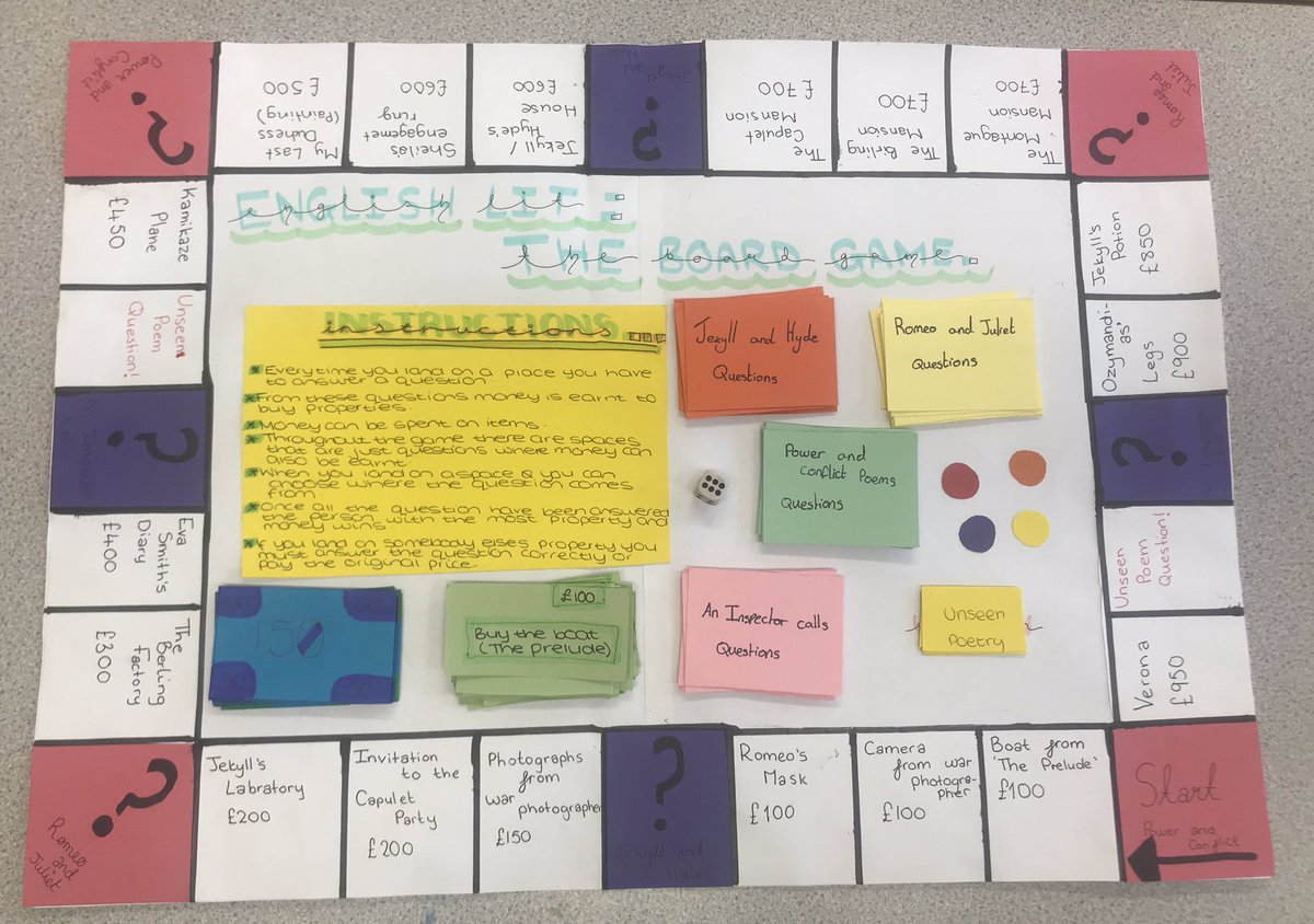 test Twitter Media - English Literature: The Board Game- some fantastic revision resources made by Year 10. https://t.co/OnzRyTV8Ul