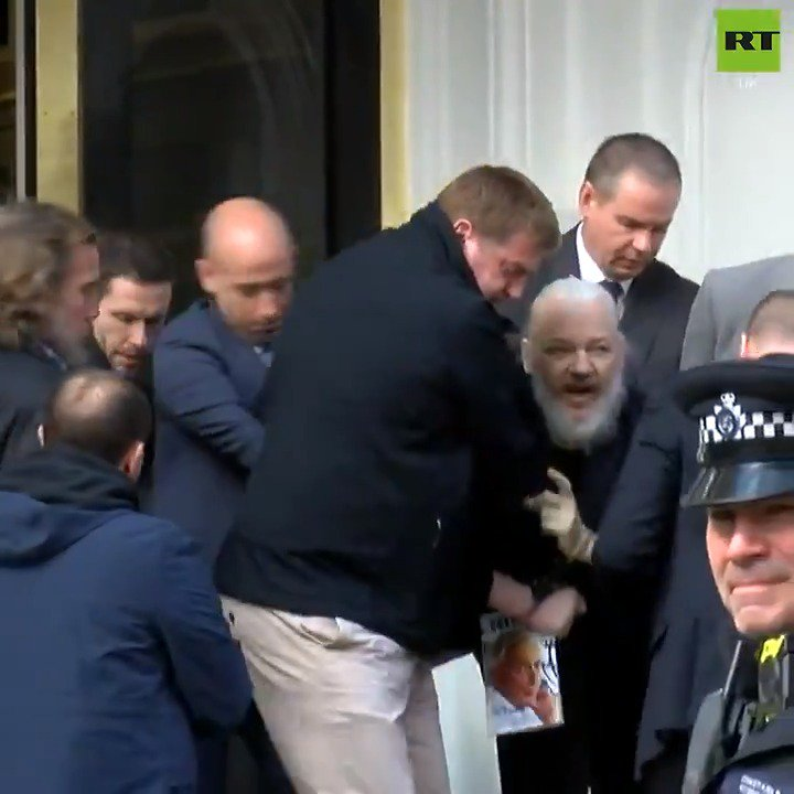 RT @RTUKnews: WATCH: Moment Julian Assange is CARRIED out of the Ecuadorian Embassy in London. https://t.co/OEeqmoksGr