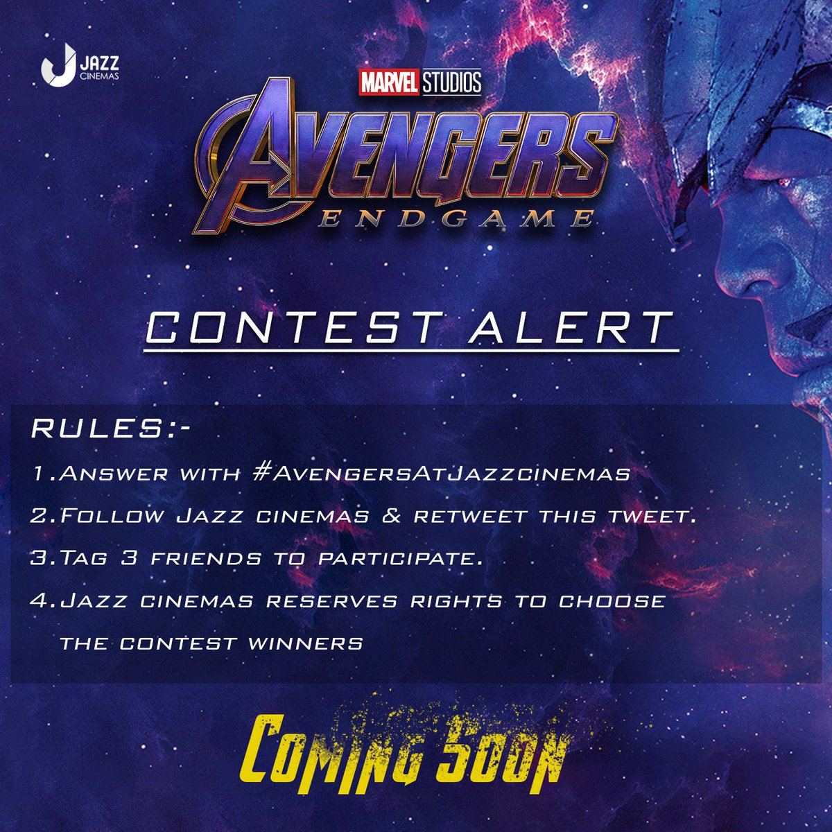 Buckle up #Marvelfans #AvengersAtJazzcinemas contest coming soon  Win tickets to the red carpet screening of Avengers-end game  Retweet,tag friends and reply using #AvengersAtJazzcinemas  if you're ready for an exciting challenge.   #jazzcinemas #jazzcinemascontest #contestalert
