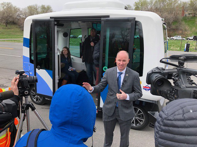 Grateful to have @SpencerJCox join us today for a media event introducing the autonomous shuttle UDOT & UTA will be deploying at various locations throughout Utah this year. The lieutenant governor truly understands the world-changing significance of this exciting new technology! https://t.co/yrOU3ydsWC