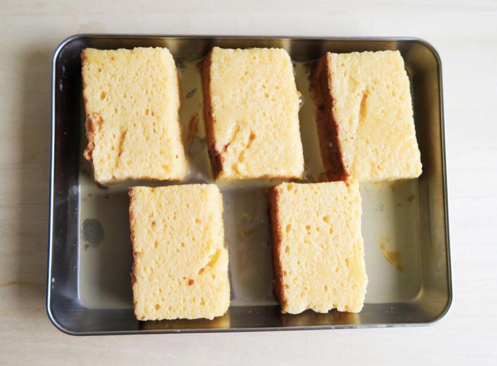 test ツイッターメディア - カステラフレンチトースト!✨😋✨牛乳、卵、バニラエッセンス、バターに30分くらい浸してフライパンの弱火で5〜6分くらい焼くとカステラフレンチトーストの出来上がりです!福砂屋の五三焼きでやってみたいですね✨😎✨ https://t.co/lZc09TzeOI