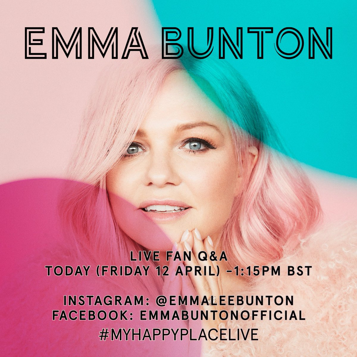 Head over to my Instagram And Facebook pages now to join in with the Live Fan Q&A! #MyHappyPlaceLive ✌???????? https://t.co/TbbdFquZsw