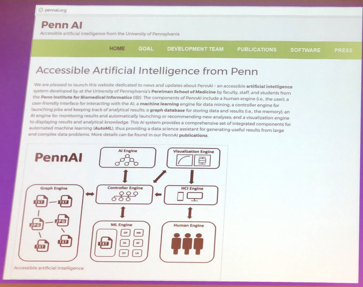 """test Twitter Media - @moorejh walks through his @UPennIBI team's new #PennAI resource that helps make #AI accessible for all to use!  @moorejh: """"A 2 year old can do machine learning with PennAI""""  Look for it in a few weeks at: https://t.co/wUnuktXoN1  @WashUi2 #I2Symposium https://t.co/nKGmQejkmB"""