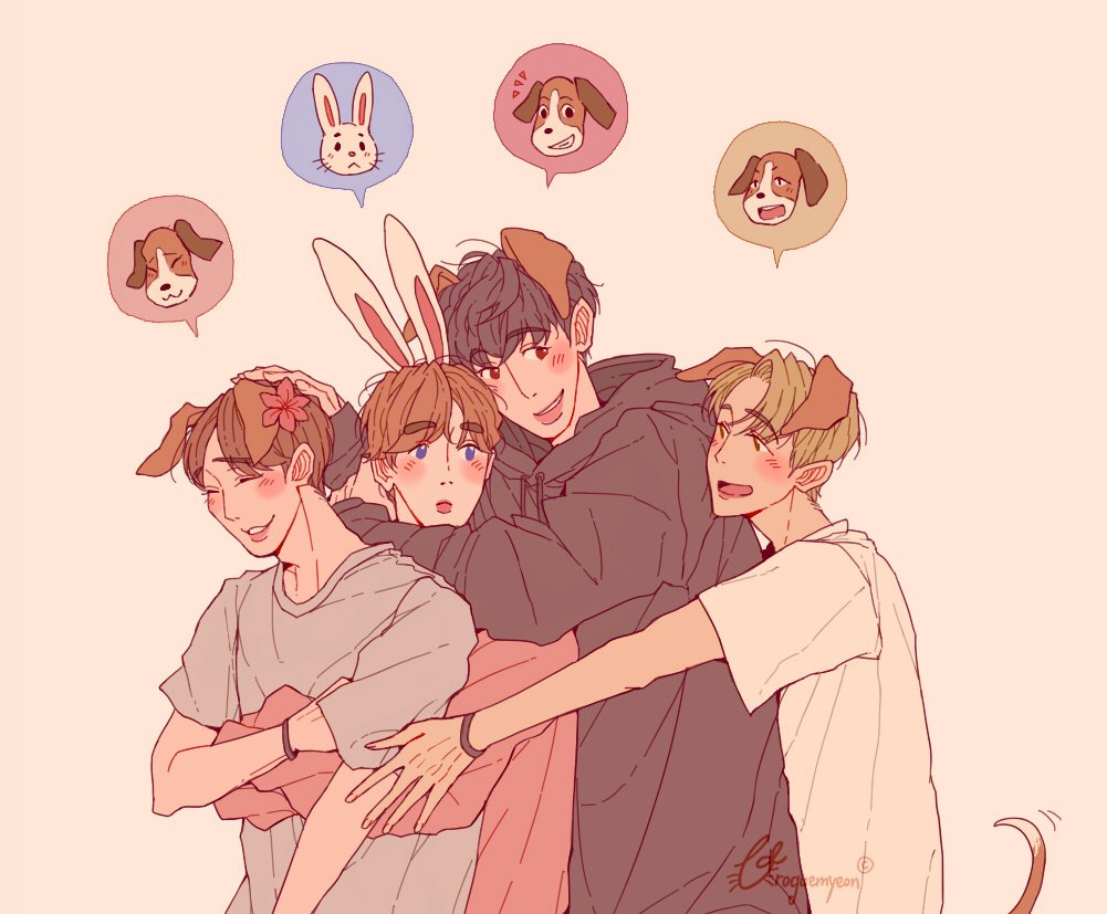 beagles, and a bunny 🌸  #chen #suho #chanyeol #baekhyun #exo