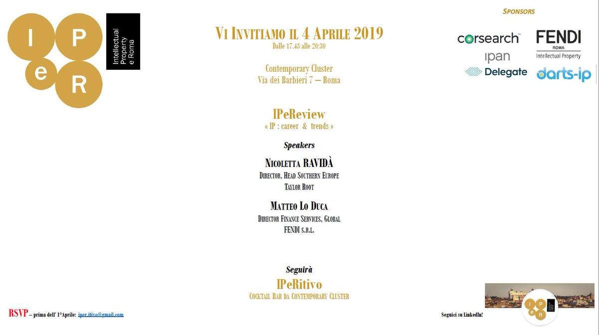 test Twitter Media - Save the Date #IPeR #Intellectual #Property e Roma organizza un #IPeReview il prossimo 4 aprile 2019 alle ore 17,45 e a seguire un #IPeRitivo Contemporary Cluster  Via dei Barbieri 7 https://t.co/Iue53bJyL7