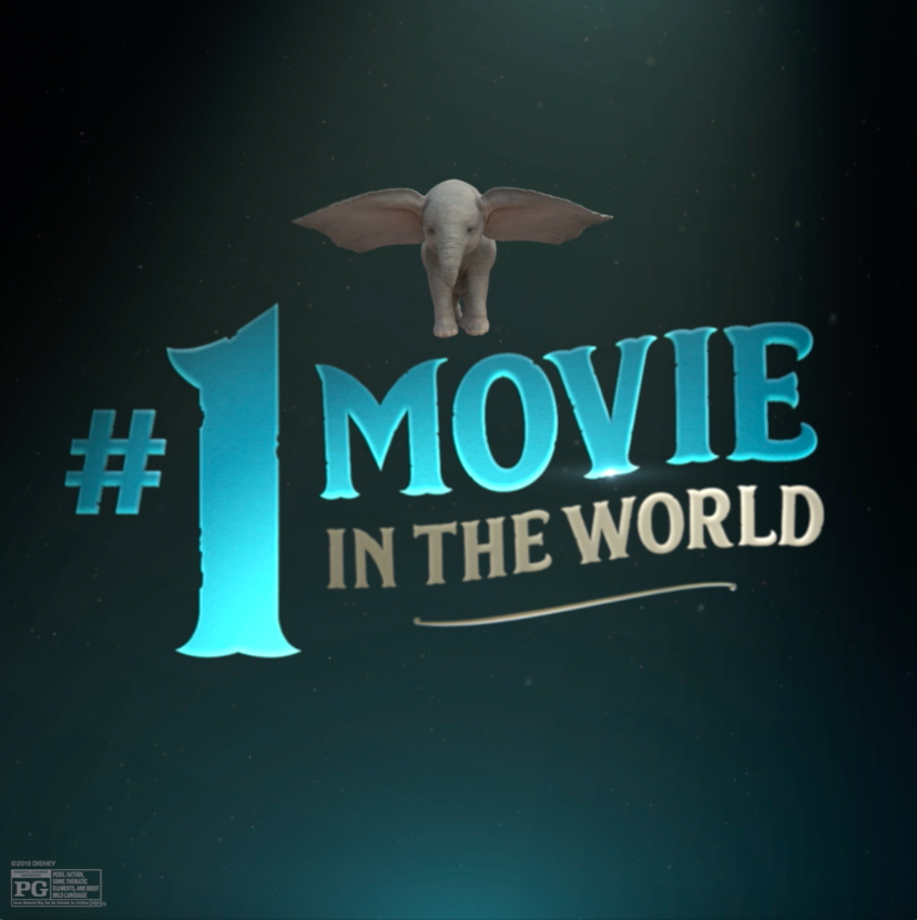 RT @Dumbo: #Dumbo has taken flight and is the #1 movie in the world! Watch him soar, in theaters now. https://t.co/ybUp7qmc23