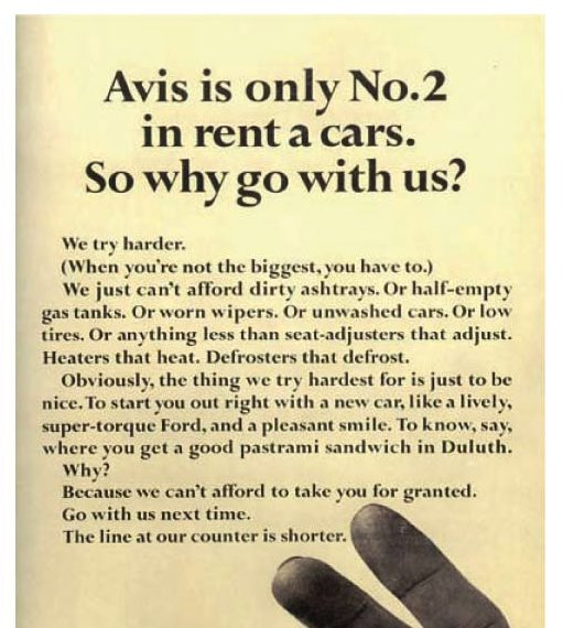 """Bill told the world that Avis was Number Two... He also told the world that because Avis was Number Two, it tried harder. Almost overnight Avis became perceived as a threat to Hertz - an awesome act of magic.""  Mary Wells, A Big Life in Advertising #amreading https://t.co/ndEEMVeqEh"