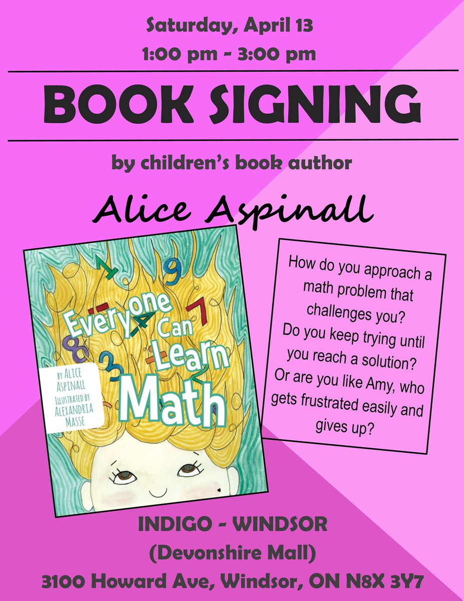 test Twitter Media - Come see me and talk math Saturday at @chaptersindigo at @devonshiremall! #YQG #supportlocal #picturebook #mathbook https://t.co/CI7e9dNyag