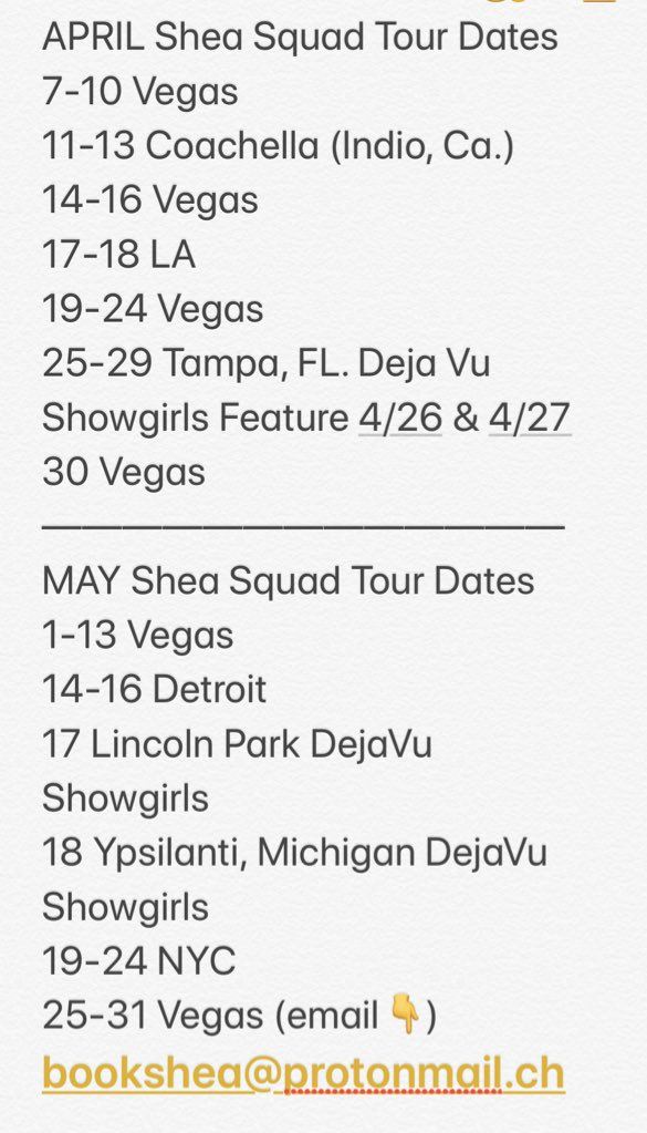 Official dates for my tours in April & May 2019 for more info email bookshea@protonmail.ch & visit  Excited To Be On The Road and I love doing shows!💦🙋🏼‍♀️💋looking forward to an eventful couple months ahead XoXo #SheaSquad