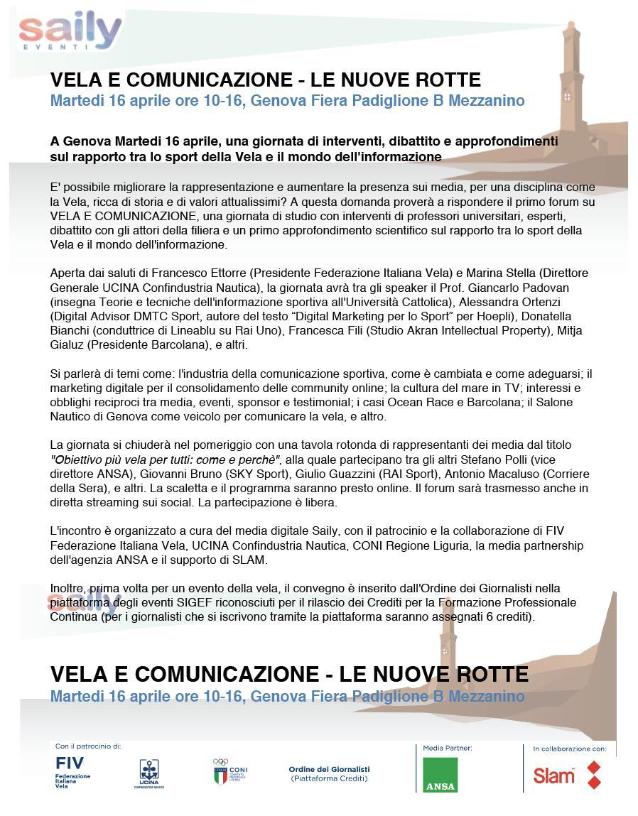 """test Twitter Media - La nostra Francesca Fili interverrà al convegno #Vela e #Comunicazione - Le Nuove Rotte, organizzato dall'instancabile Fabio Colivicchi motore di #Saily, a #Genova il prossimo 16 aprile, sul tema: """"#Media, #eventi, #sponsor e #testimonial: interessi e obblighi reciproci"""" https://t.co/z9K640LRIB"""
