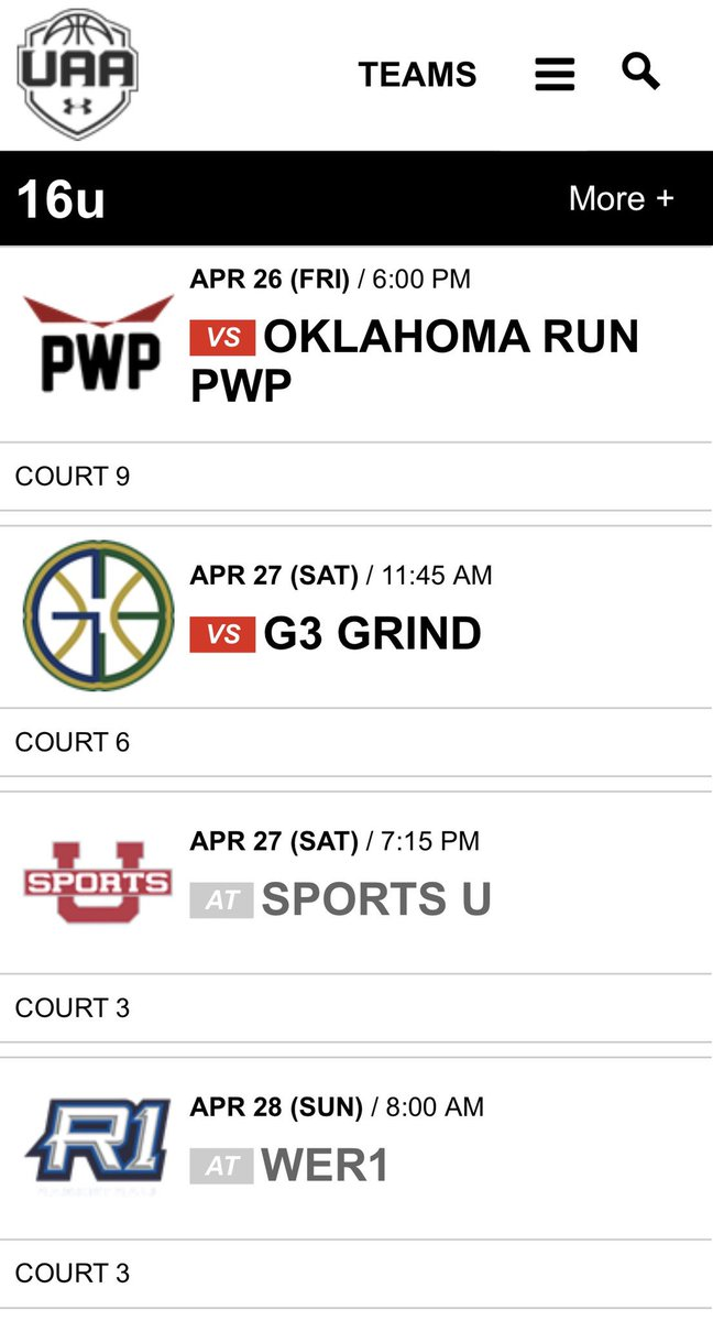 RT @UAADistrictWAWG: District WAWG 16u @UAassociation Kansas City, MS Schedule!! 🔥 https://t.co/4IvVewShLl