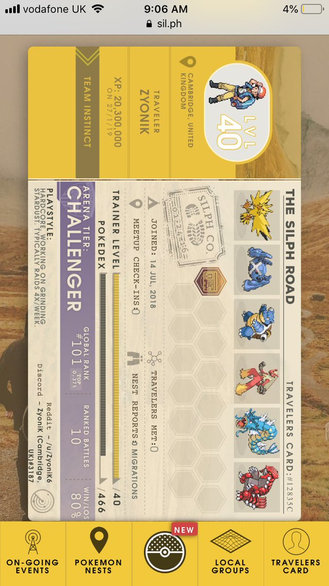 test Twitter Media - I mean I'll take it! But that's not my rank lmao #PokemonGo #silpharena https://t.co/MeLWstwZsd