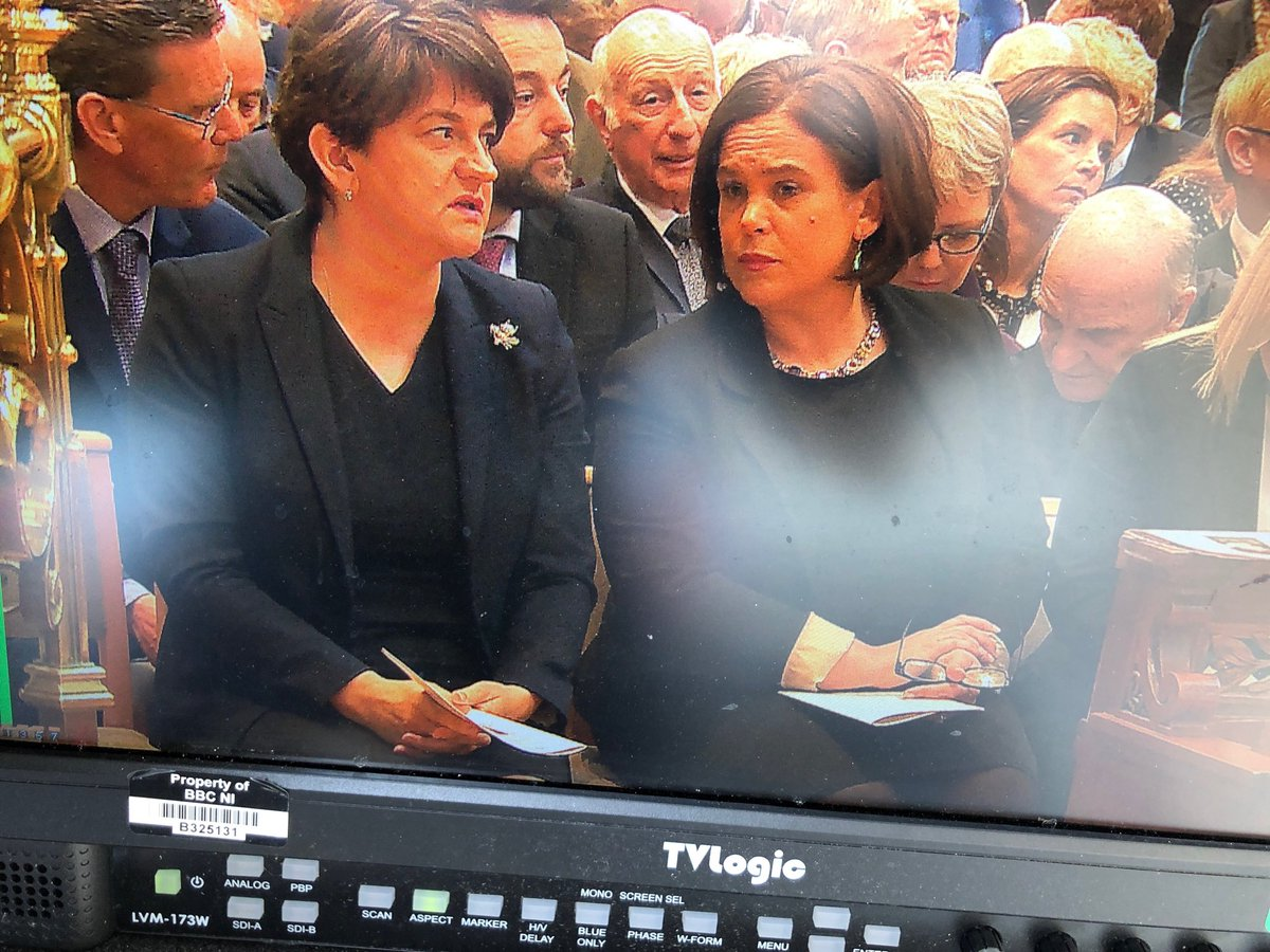 RT @BBCMarkSimpson: DUP and Sinn Féin leaders side-by-side at funeral of Lyra McKee. https://t.co/pmbiehYOhk
