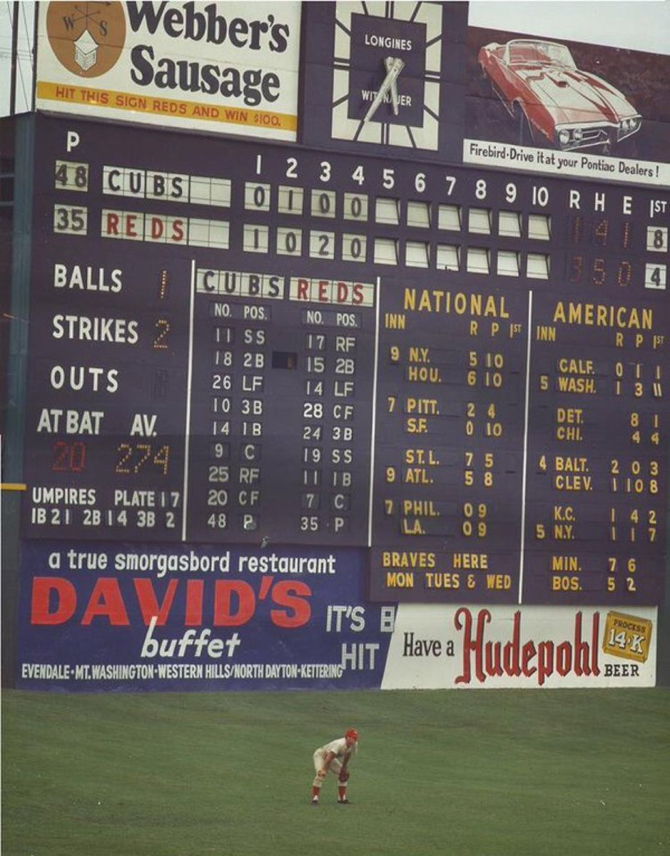 Crosley Field, Cincinnati, July 30, 1967 - Reds' Pete Rose in LF and under the shadow of one of the most majestic scoreboards ever with a 7-foot Longines clock perched on top. It was built in 1957 standing 58-feet tall and it took 5 people to man it. Note the slope of the field https://t.co/RIiGeCrCAC