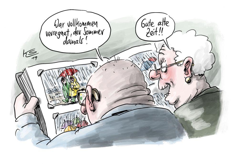 RT @ErnstvAll: Das waren noch Zeiten, als der Urlaub total verregnet war. #Duerresommer   (Cartoon Stuttmann) https://t.co/xjRwcLepTA