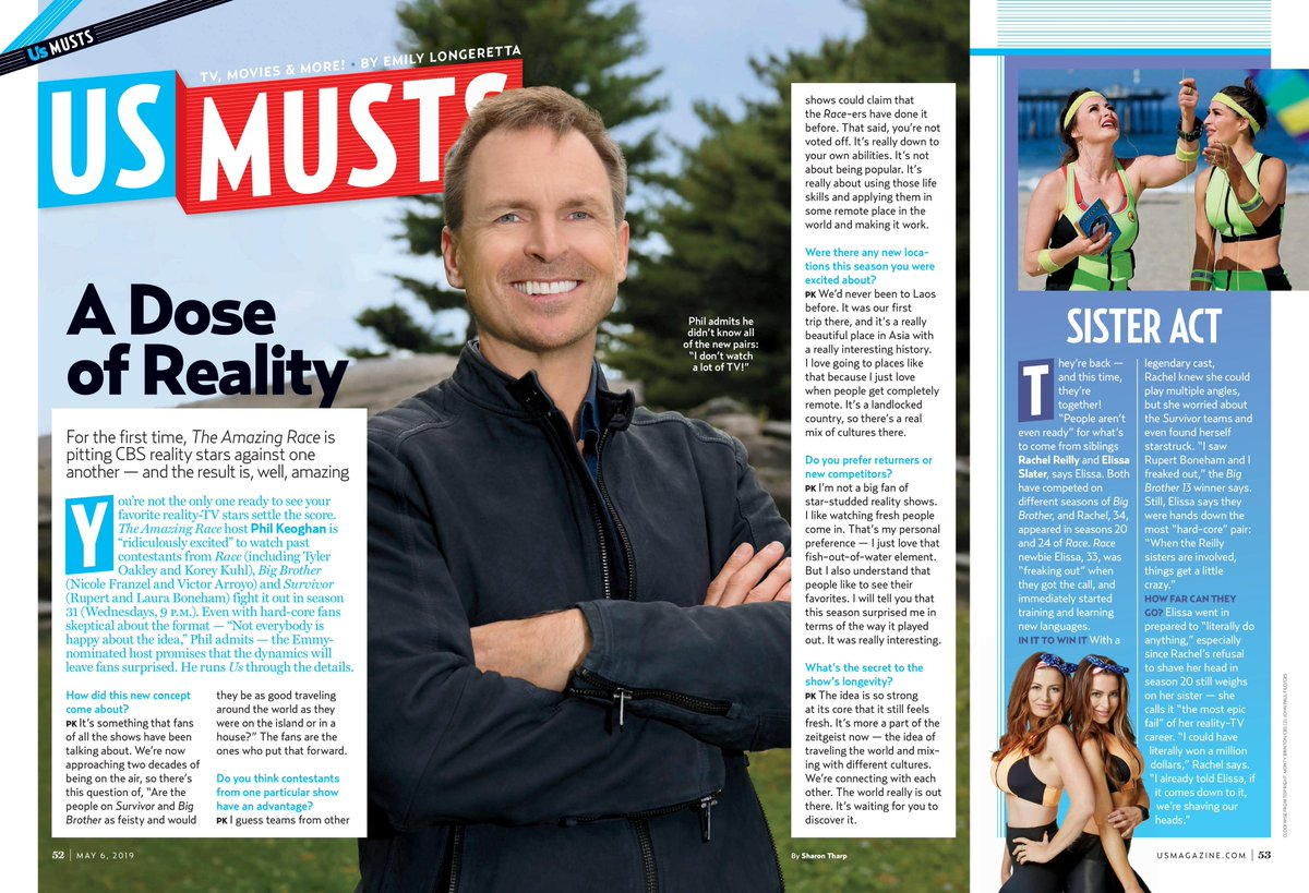 test Twitter Media - MAKE SURE TO WATCH @AmazingRaceCBS TONIGHT 9/8c  on @CBS & pick up this weeks @usweekly 2 find out my most EPIC reality TV FAIL & What @PhilKeoghan thinks about star studded reality shows! https://t.co/g1q7DpHlw0 https://t.co/D0QnuPlCjP