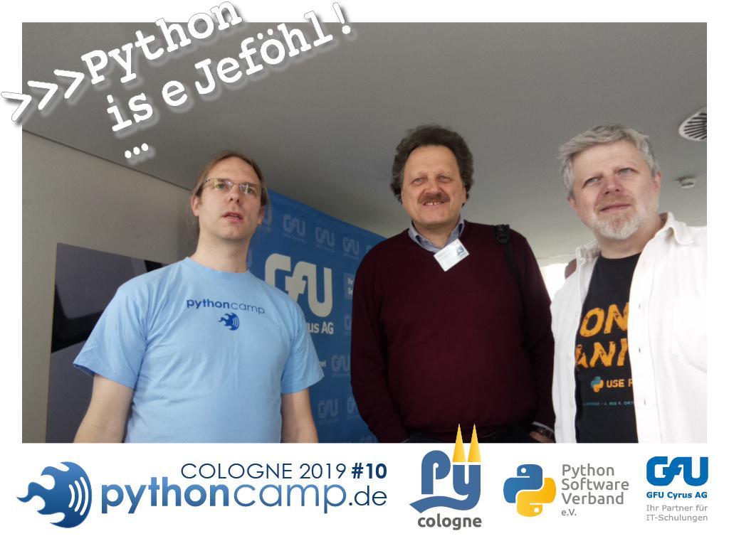 RT @cam_python: #pythoncamp #10 Python BarCamp Cologne. Python is e Jeföhl https://t.co/a0TGCciBSB
