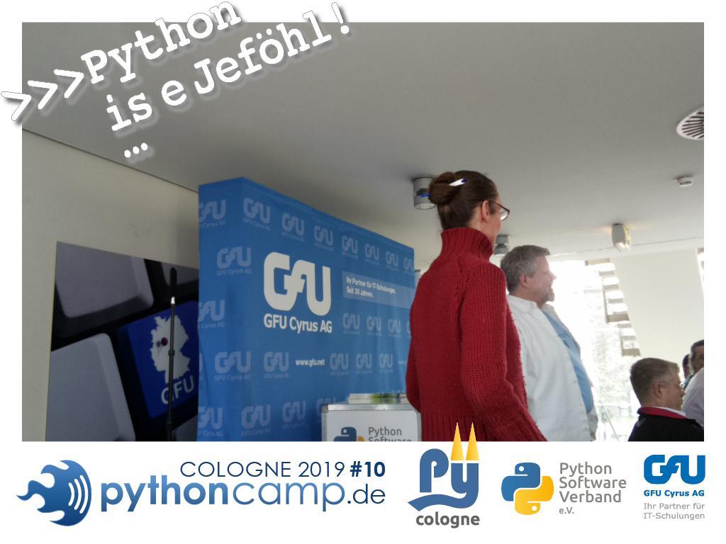 RT @cam_python: #pythoncamp #10 Python BarCamp Cologne. Python is e Jeföhl https://t.co/IN2JlzyRmD