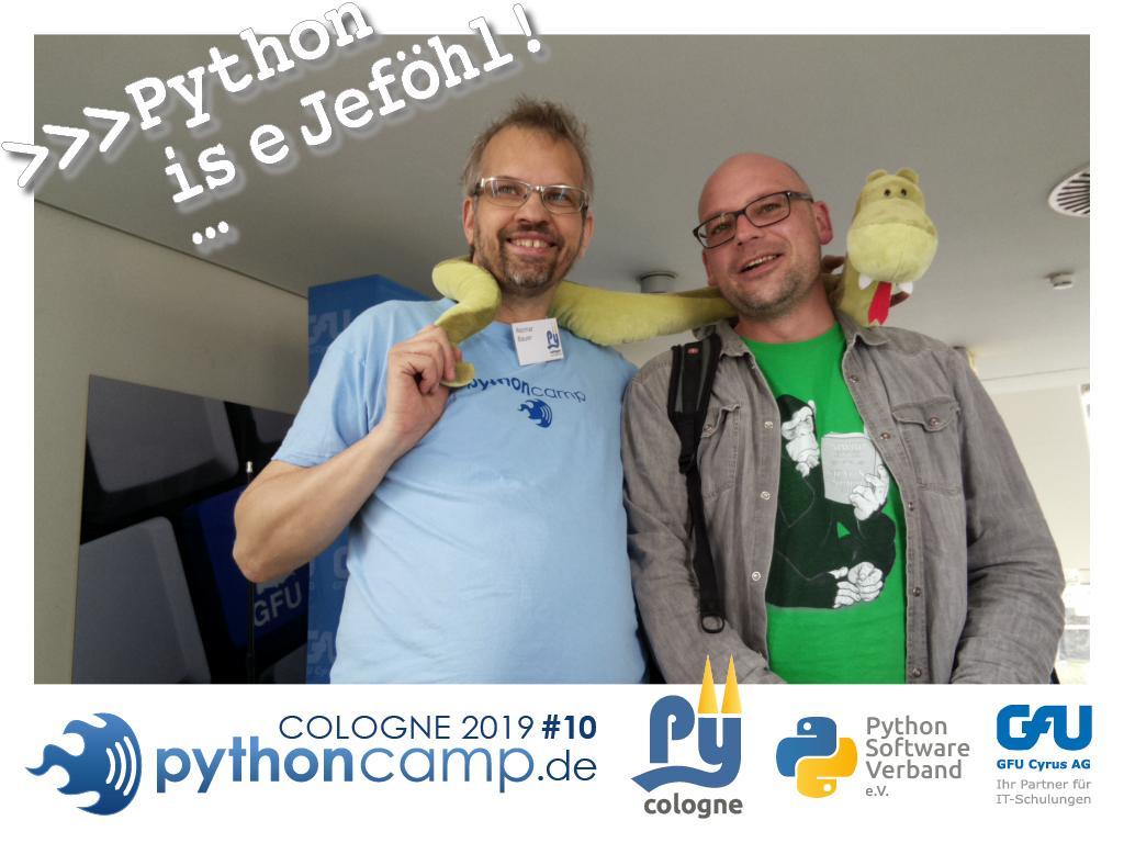 RT @cam_python: #pythoncamp #10 Python BarCamp Cologne. Python is e Jeföhl https://t.co/QNRZOXAcUx