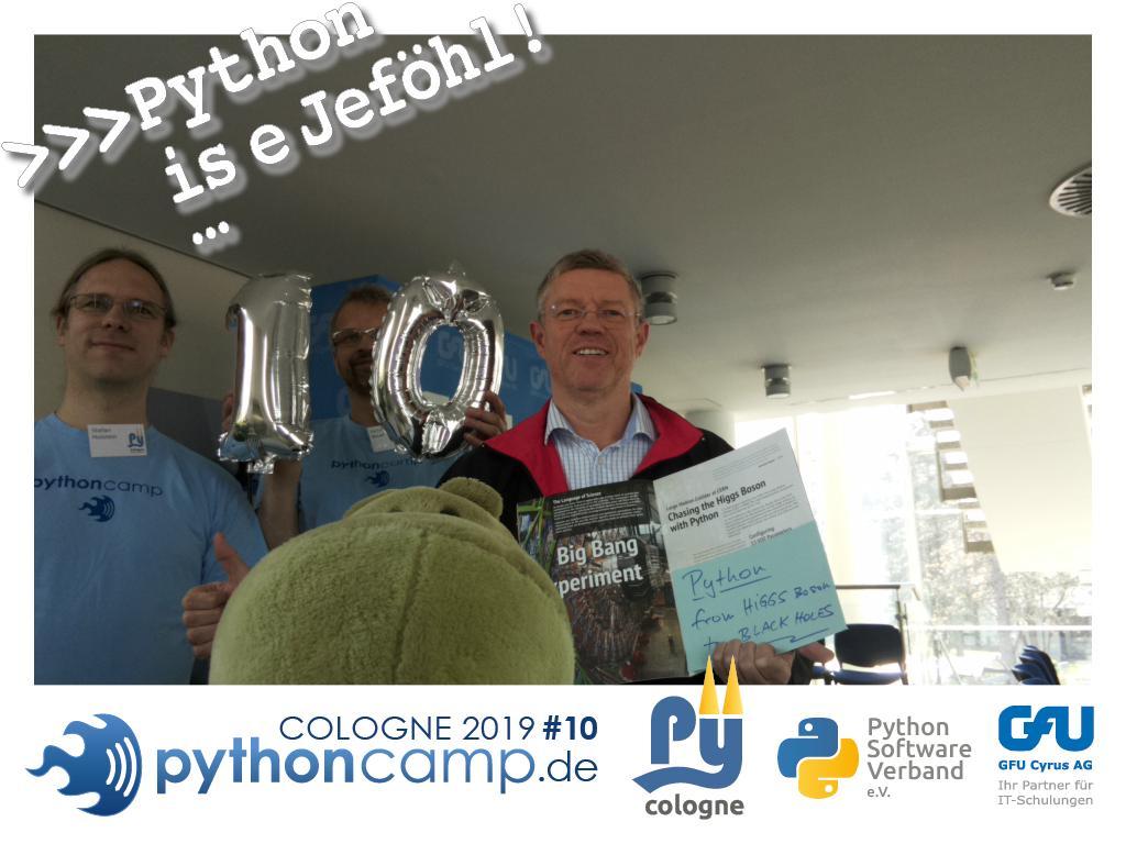RT @cam_python: #pythoncamp #10 Python BarCamp Cologne. Python is e Jeföhl https://t.co/Kbp2dakyRI