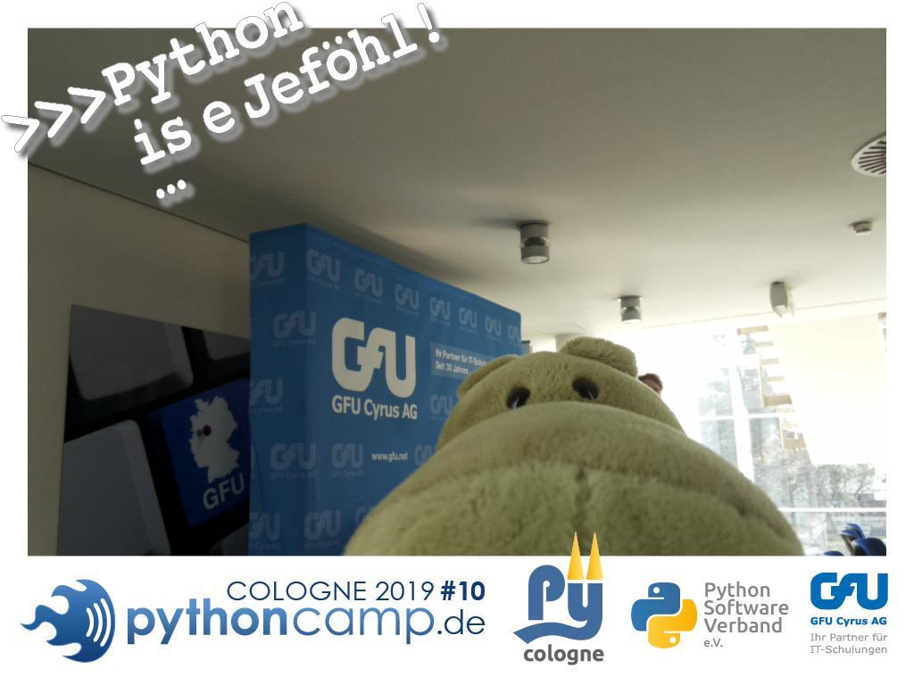 RT @cam_python: #pythoncamp #10 Python BarCamp Cologne. Python is e Jeföhl https://t.co/KKjmxxgDoA