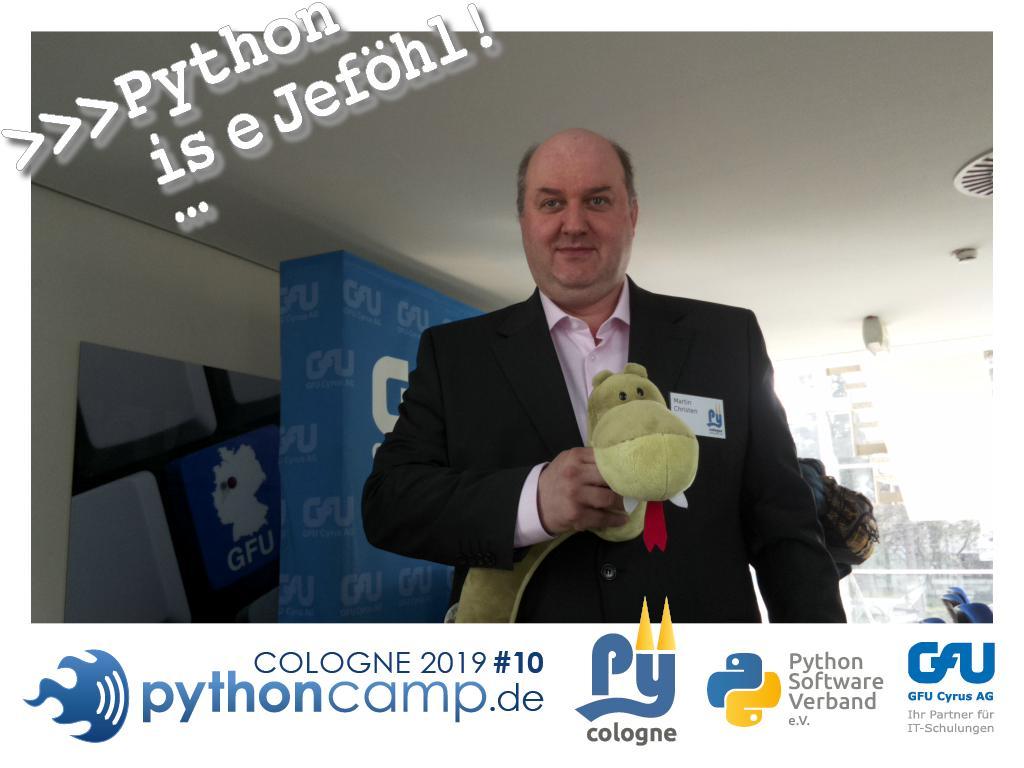 RT @cam_python: #pythoncamp #10 Python BarCamp Cologne. Python is e Jeföhl https://t.co/9764B1jh84