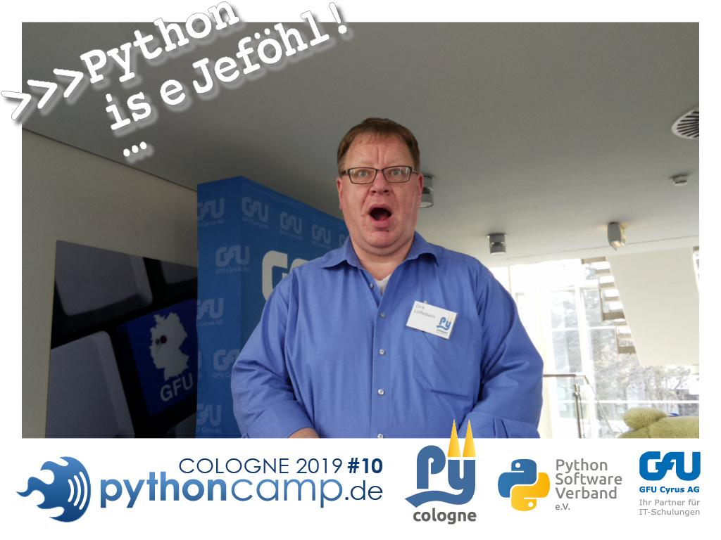 RT @cam_python: #pythoncamp #10 Python BarCamp Cologne. Python is e Jeföhl https://t.co/U75t0C9Vm7