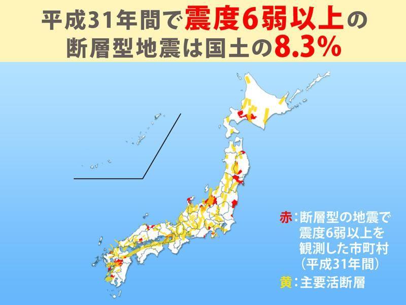 test ツイッターメディア - 【断層型地震】直下型の断層型地震では、緊急地震速報は間に合わず、突き上げるような強い揺れが特徴です。平成年間で断層型地震での震度6弱以上の揺れを観測したのは国土の8.3%ですが、全国どこであっても起こりうる地震です。 #熊本地震から3年 https://t.co/OJutAY28Wd https://t.co/Vg9rZzRJs6