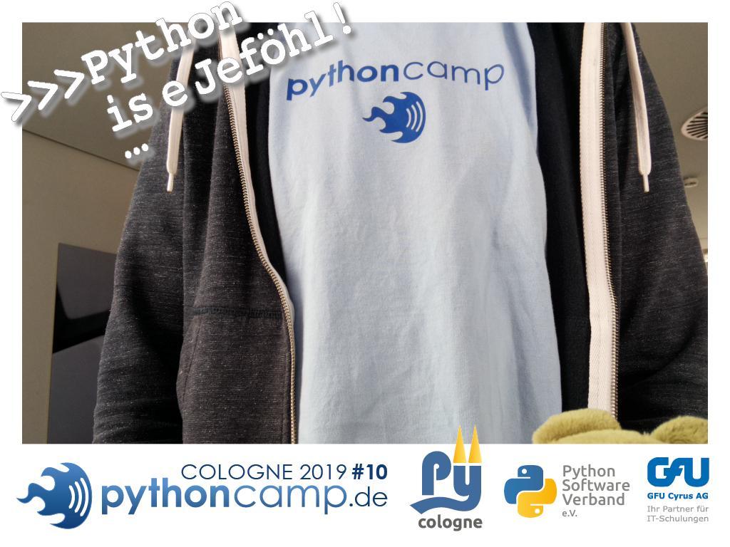 RT @cam_python: #pythoncamp #10 Python BarCamp Cologne. Python is e Jeföhl https://t.co/p0rQpUWA8Z