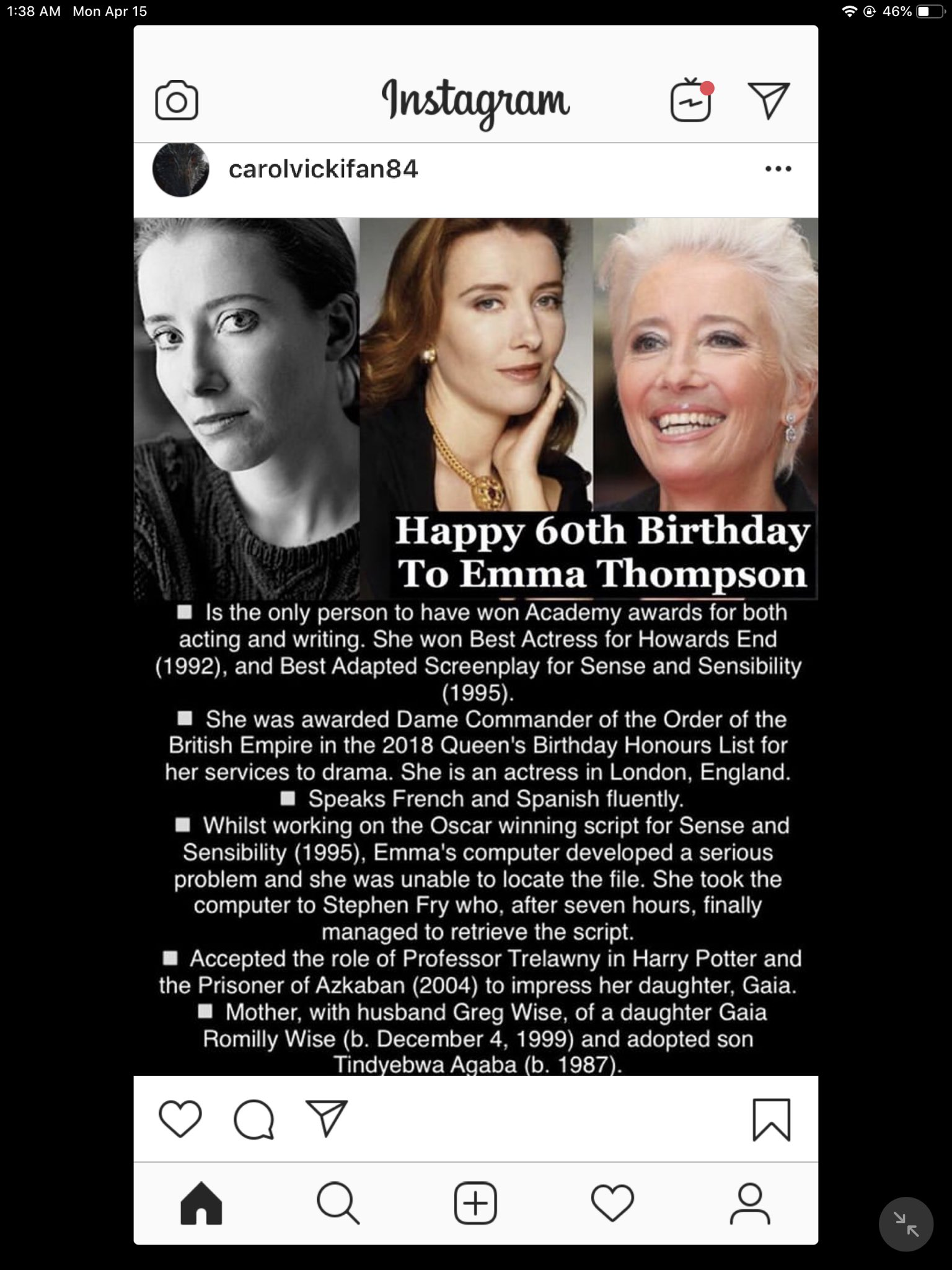 Happy Birthday! Emma Thompson, Emma Watson, Luke Evans and Elizabeth Montgomery