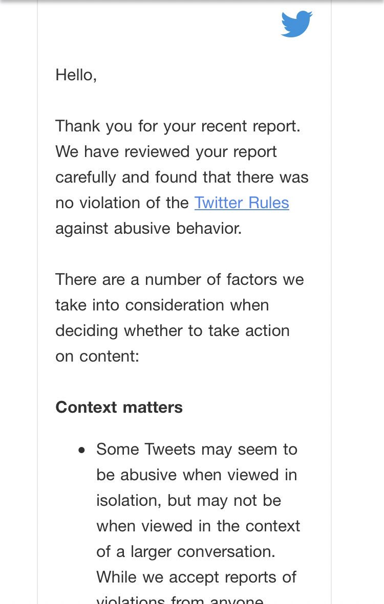 "RT @juliaioffe: I reported a user who said ""fuck off jew"" to me and this was @Twitter's response. Really? https://t.co/m5DTIjX297"