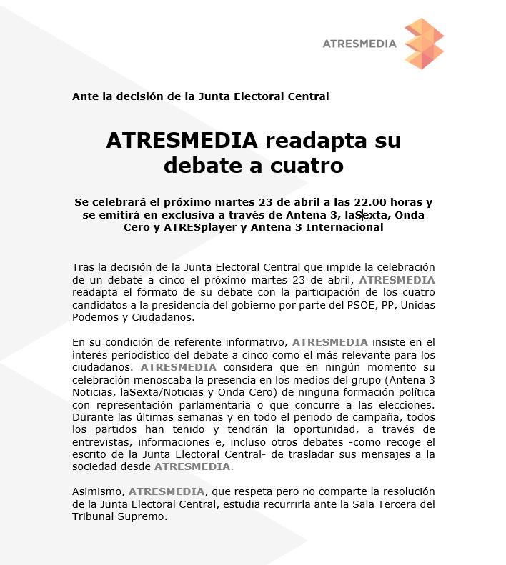 RT @atresmediacom: COMUNICADO | ATRESMEDIA readapta su debate a cuatro https://t.co/KJlvMbI65r