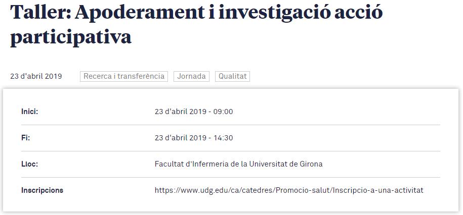 """test Twitter Media - Taller """"Apoderament i investigació acció participativa"""" 📆 23 abril de 9 a 14.30h 📍 Facultat d'Infermeria de Girona Més informació: https://t.co/SRDOINMCr2 @CpromosalutUdG https://t.co/KESQRM9jD3"""
