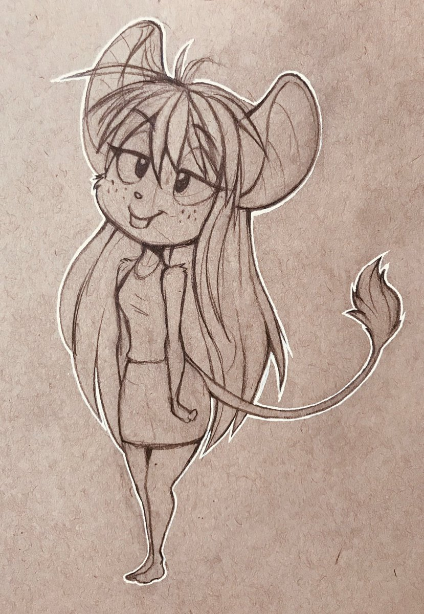 test Twitter Media - Drawn on toned tan sketch paper. She got a tail poof. 🐭 https://t.co/pQ1wZVeriA