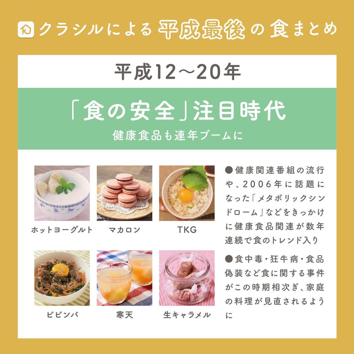 test ツイッターメディア - クラシルが平成の食トレンドを振り返る 「#平成最後 の食まとめ」を発表🎉  ✔︎スイーツ戦国時代 ✔︎食の安全注目時代 ✔︎フォトジェニック飯駆け出し時代 ✔︎インスタ映え料理の時代  あなたの思い出に残っている食べ物・時代はどれですか?  #平成の思い出ごはん  でつぶやいてみてください☺️ https://t.co/SttUwg56Q0