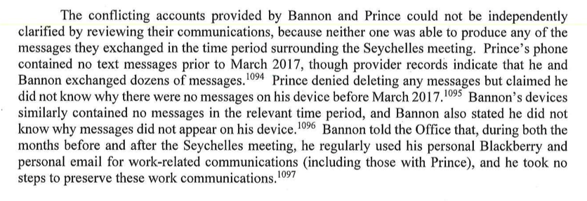 """test Twitter Media - Mueller's investigators can't resolve """"conflicting accounts"""" by Bannon + Erik Prince of the mysterious Seychelles meeting because text messages on both their phones have disappeared https://t.co/IGFmrht4XV"""
