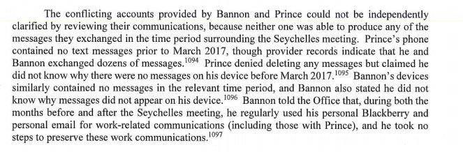 """test Twitter Media - Mueller: Though phone provider records show that Steve Bannon and Erik Prince """"exchanged dozens"""" of text messages around the time of the Seychelles meeting, there were no messages available for investigators to read on their phones. Both men said they didn't know why that was. https://t.co/jCVDKBkIIB"""