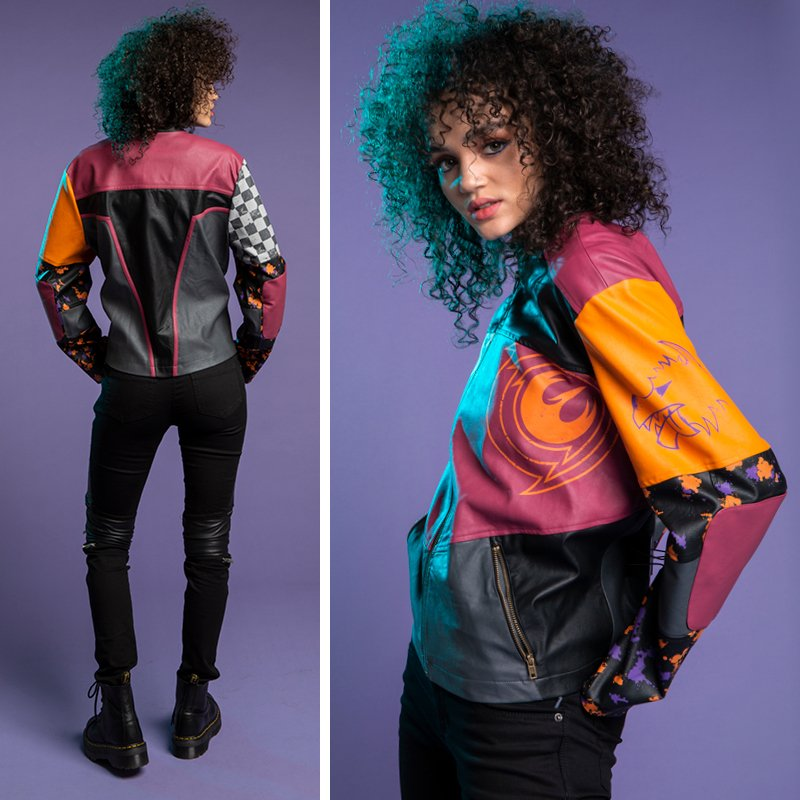 test Twitter Media - NEW! This moto jacket is inspired by Sabine Wren's #Mandalorian armor and her decorative modifications in #StarWarsRebels . Back detailing looks like front of her helmet & sleeves printed with logos & patterns from her armor. Shop here (Plus Size, too) - https://t.co/J3oVvWhh6v https://t.co/WmbijzytWi