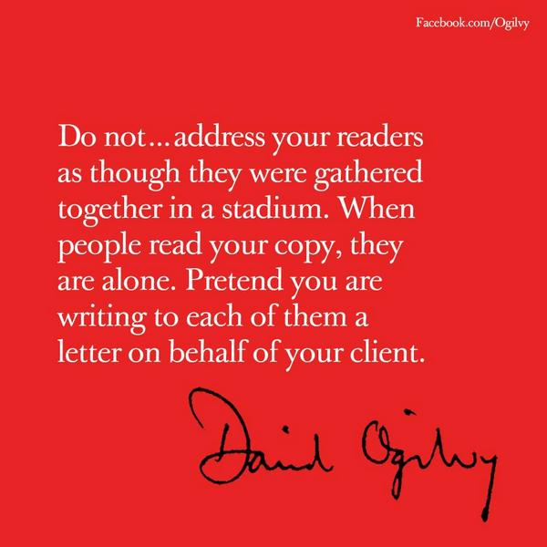 David Ogilvy on tone of voice  HT @OgilvyUK https://t.co/x9GVtIf2rF