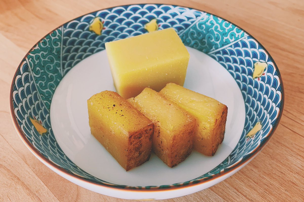 test ツイッターメディア - 〈舟和〉の芋ようかんをバターで焼いてみたら…美味でした。あたためると甘みがグッと増して、バターの風味も◎ 表面が少しカリッとするぐらい焼くとまたよし。 https://t.co/Q0yrWymb6H https://t.co/HetLABkeuD