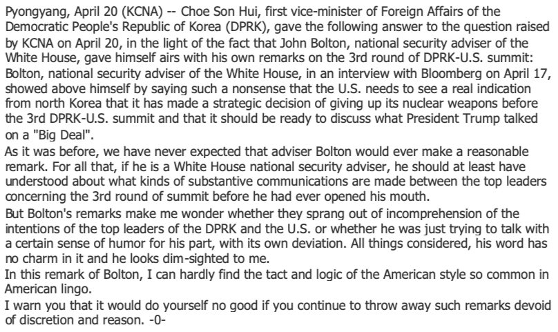 Choe Son Hui's full comments on Bolton, as reported by KCNA on April 20. https://t.co/EJsqU33EoT