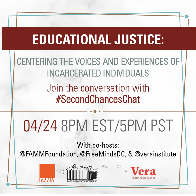 Join us Wednesday 4/24 at 8pm ET/5pm PT for our #SecondChancesChat! We will be talking with our co-hosts @verainstitute, @FreeMindsDC, & @FAMMFoundation about the life-changing benefits a high-quality education can have for incarcerated individuals! https://t.co/PD5zLSAXlp