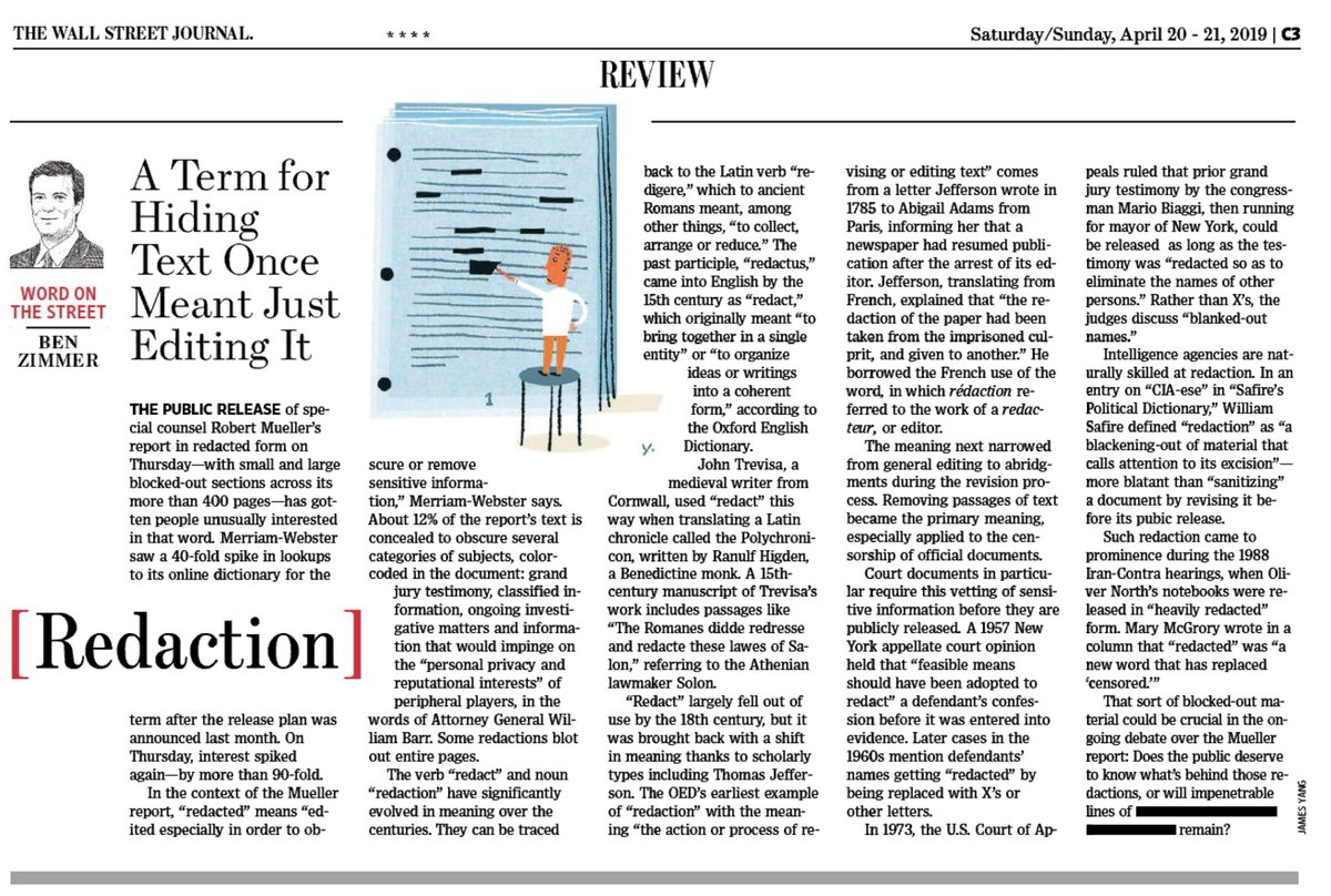 "test Twitter Media - In this weekend's @WSJ Review section: the evolving meaning of ""redaction,"" in the news thanks to the Mueller report... from editing text to █████████. https://t.co/CmbPTfvIY8 https://t.co/ZXGoMj4LjH"