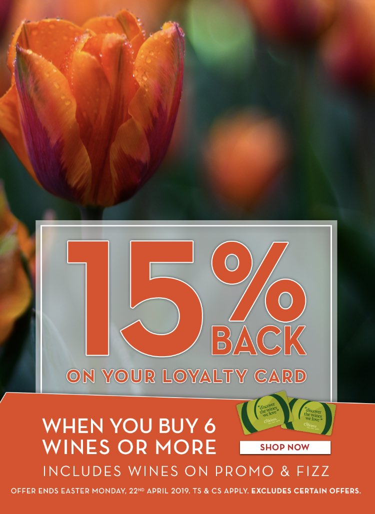 Don't forget 15% BACK on your Loyalty Card ends close of business tonight! #EasterMonday #obrienswine https://t.co/jSL6652Q6W