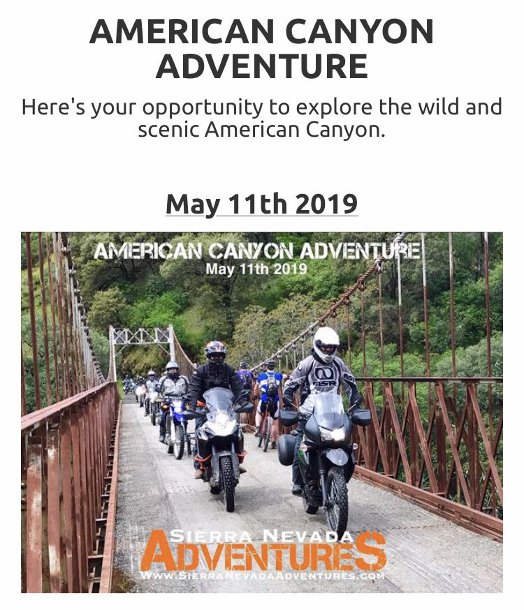 test Twitter Media - AMERICAN CANYON RIDE Saturday May 11th 2019  Here's your opportunity to explore an exciting canyon via dirt wagon routes to historic Gold Rush sites  Rides are designed for 2-cylinder dual sport adventure  Become a Member! It's easy & it's FREE  https://t.co/1qUyAW6Aht #advrider https://t.co/7s470bTVin