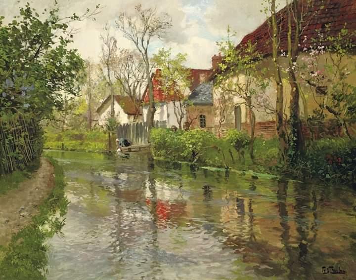 """Fritz Thaulow - """"Cottage lungo il fiume"""" 1890 circa, olio su tela  dimensioni  64 x 79 cm. """"Collezione Richard Green"""", Londra https://t.co/hQUFBQzlCk"""