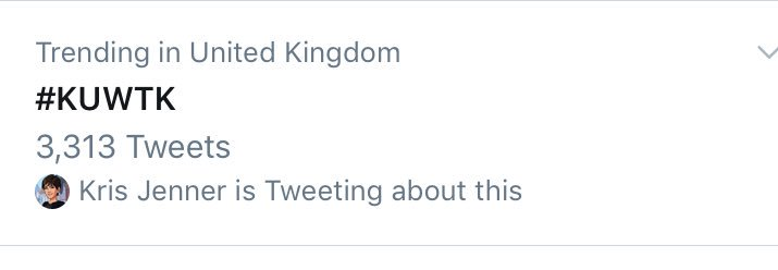 RT @Khlomoney98: trending in the UK and it's 2am and not even airing here rn ???????? #KUWTK @khloekardashian @KrisJenner https://t.co/d1ErEcY1WF